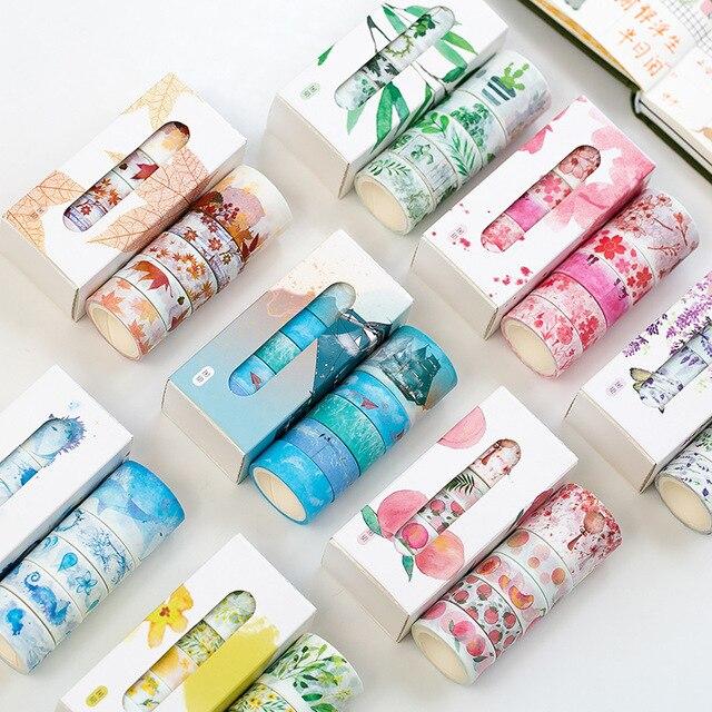 5 Pcs/Box Beautiful Flower Washi Tape DIY Decoration Scrapbooking Planner Masking Tape Adhesive Tape Label Sticker Stationery