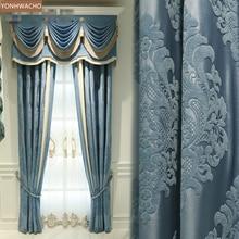 Custom curtain Light luxury blue Double-sided Silky high-precision chenille cloth blackout curtain valance tulle panel C251