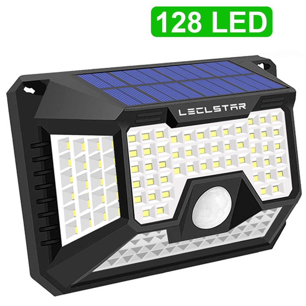 Waterproof 140/128 LED Solar Powered Lamp Outdoor For Garden Decoration Security Wall Solar Energy Motion Sensor Lights Sunlight