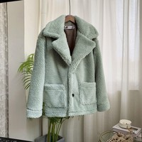 Female Winter Coat Loose Thick Warm Lamb Fur Solid Button Lapel Plus Size Casual Double Pocket Long Sleeve Wool Coats