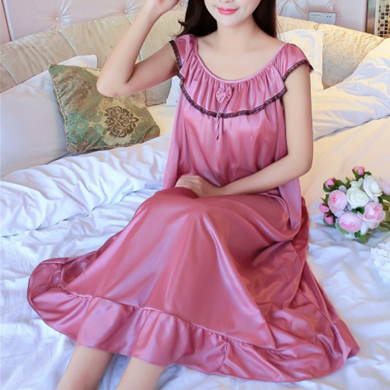 Women's Sleepwear  Summer Night Casual Loose Cool Home Pure Color Pullover Comfortable Ladies Dress
