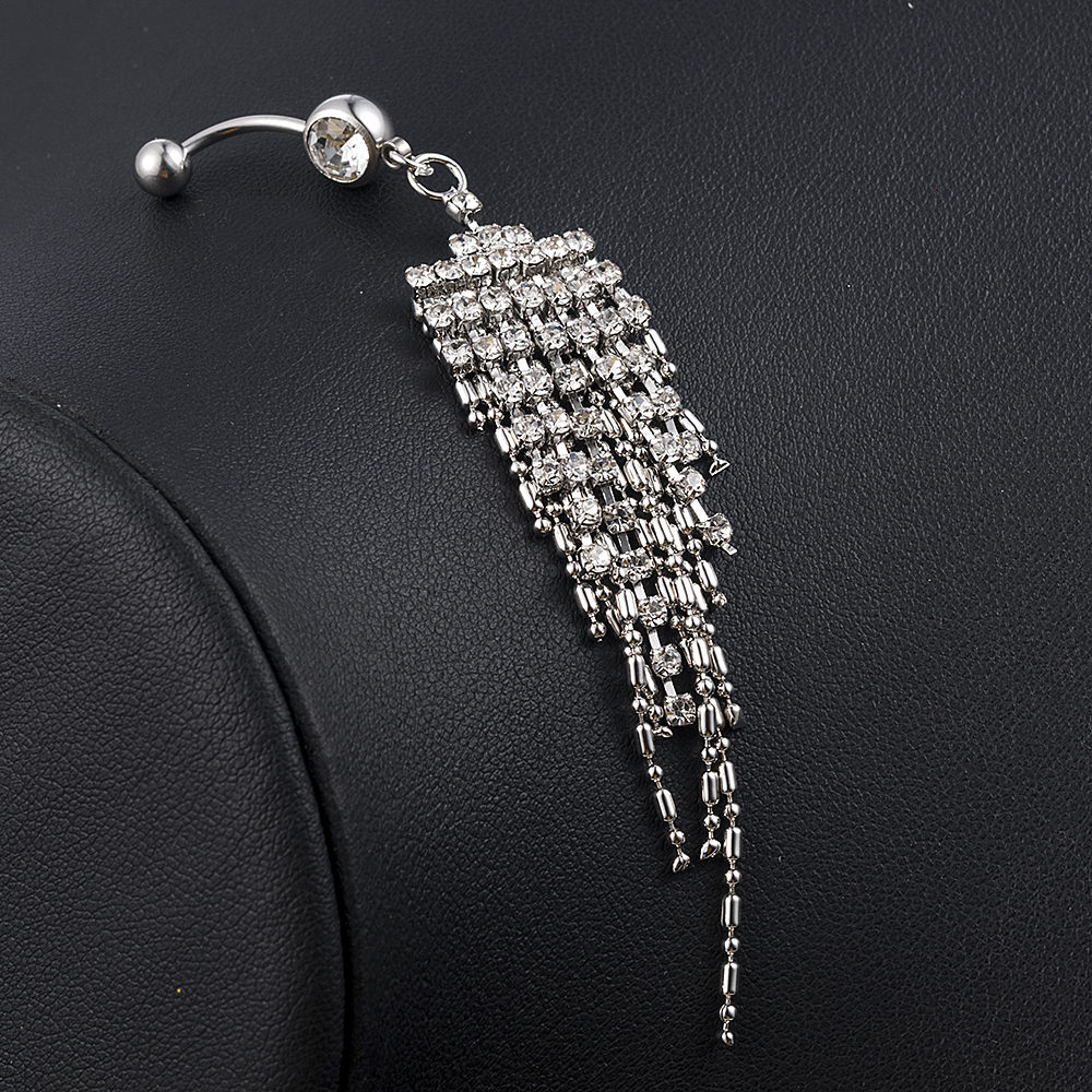 2020 NEW Fashion Stylish Plated Crystal Tassel Dangle Navel Belly Button Ring Bar Piercing Rings Body Jewelry