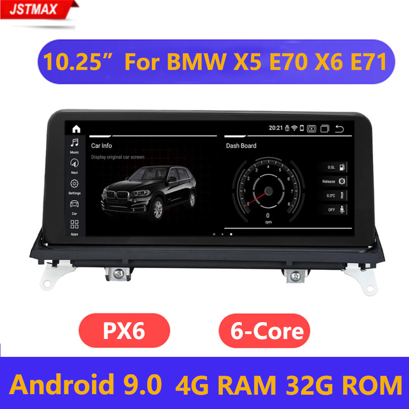 """10.25"""" IPS Screen Android 9.0 System 4+32G Car Multimeida Stereo For BMW X5 E70 X6 E71 2007 2013 GPS Navi Bluetooth WIFI Car Multimedia Player     - title="""