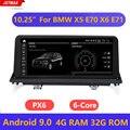 """Otomobiller ve Motosikletler'ten Araba Multimedya Oynatıcı'de 10.25 """"IPS ekran Android 9.0 sistemi 4 + 32G araba multimedya Stereo BMW X5 E70 X6 E71 2007 2013 GPS Navi Bluetooth WIFI"""