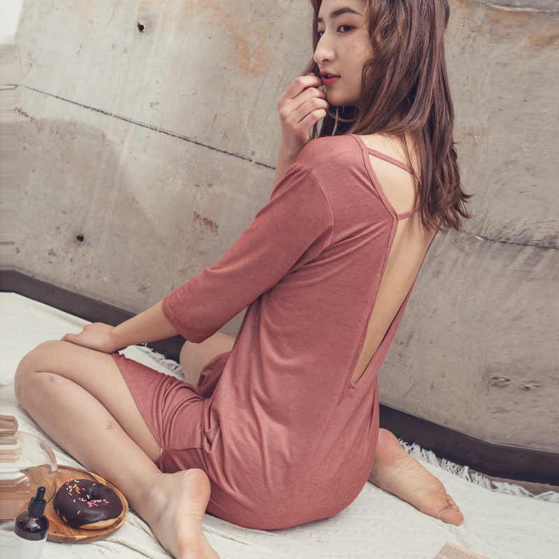 Hot Selling Western Style Sexy Big Backless Modal Nightgown Bare Sleeping Tracksuit Cotton Summer Short Sleeve Slit Long Skirts