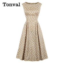 Midi Dresses Polka-Dot Tonval Khaki-Color Retro Elegant Women Vintage Sleeveless Ladies