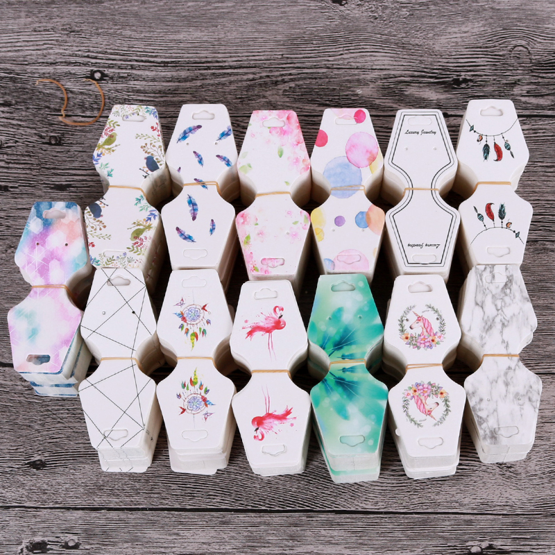 50pcs 4.5*10.7cm Paper Fashion Jewelry Colorful Card Hair Clip Hairpin Display /Accessory Displays Jewelry Cards