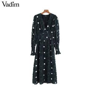 Image 1 - Vadim women elegant office wear midi dress long sleeve polka dots female casual elastic waist chic dresses vestidos QC931