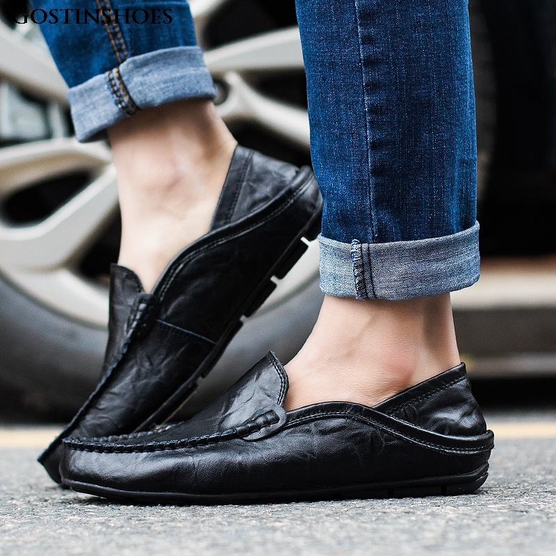 Men Shoes Casual Genuine Leather Mens Loafers Moccasins Designer Slip On Zapatos Classical Chaussure Homme Size 38-46