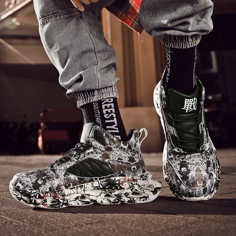 Fashion Men s Hip Hop Street Dance Shoes Graffiti High Top Chunky Sneakers Autumn Summer Casual Fashion Men's Hip Hop Street Dance Shoes Graffiti High Top Chunky Sneakers Autumn Summer Casual Mesh Shoes Boys Zapatos Hombre