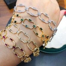 GODKI luksusowe kwadratowe ogniwo łańcucha bransoletki bransoletki Cubic cyrkon CZ Vintage czeski mankietów bransoletki dla kobiet biżuteria Femme