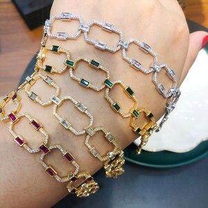 Image 1 - GODKI luksusowe kwadratowe ogniwo łańcucha bransoletki bransoletki Cubic cyrkon CZ Vintage czeski mankietów bransoletki dla kobiet biżuteria Femme