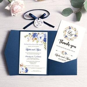 Image 4 - 100 個結婚式の招待状ブルーポケットブルゴーニュグリーティングカード封筒カスタマイズパーティーリボンとタグ