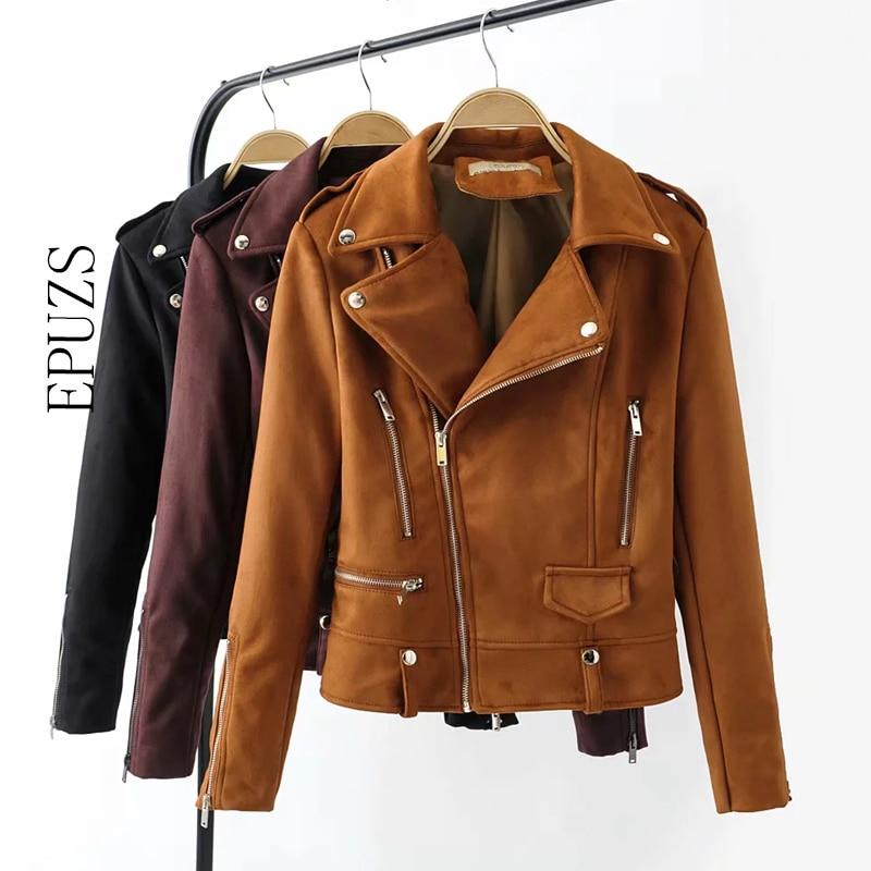 2018 Spring suede jacket women Black Faux PU Leather Jacket Women Zipper basic Outerwear Motorcycle biker jacket Coat Women
