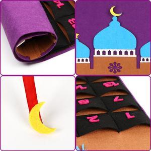 Image 5 - OurWarm Eid Mubarak Countdown Felt DIY Ramadan Calendar for kids with Pocket Castle Calendar Muslim Balram Party Decor Supplies