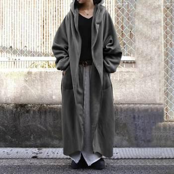 Zanzea Γυναικεία ζακέτα μακριά μέχρι τον αστράγαλο φλις με κουκούλα καθημερινό αθλητικό στυλ μεγάλα νούμερα έως 5xl streetwear