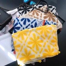 2020 New Ombre Flower Print Tassel Scarves Shawls Women Long Cotton Floral Print
