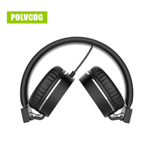 POLVCDG Black HIFI Headphones Microphone Noise Cancelling Music Headsets DJ Earphone Stereo Computer Mobile MP3 Wired Headset цена