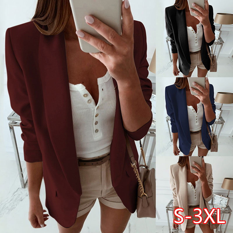 Women Turn Down Collar Suit Jacket Blazer Spring Solid Lapel Slim Fit Jacket Ladies Business Office Coat Open Stich Outerwear