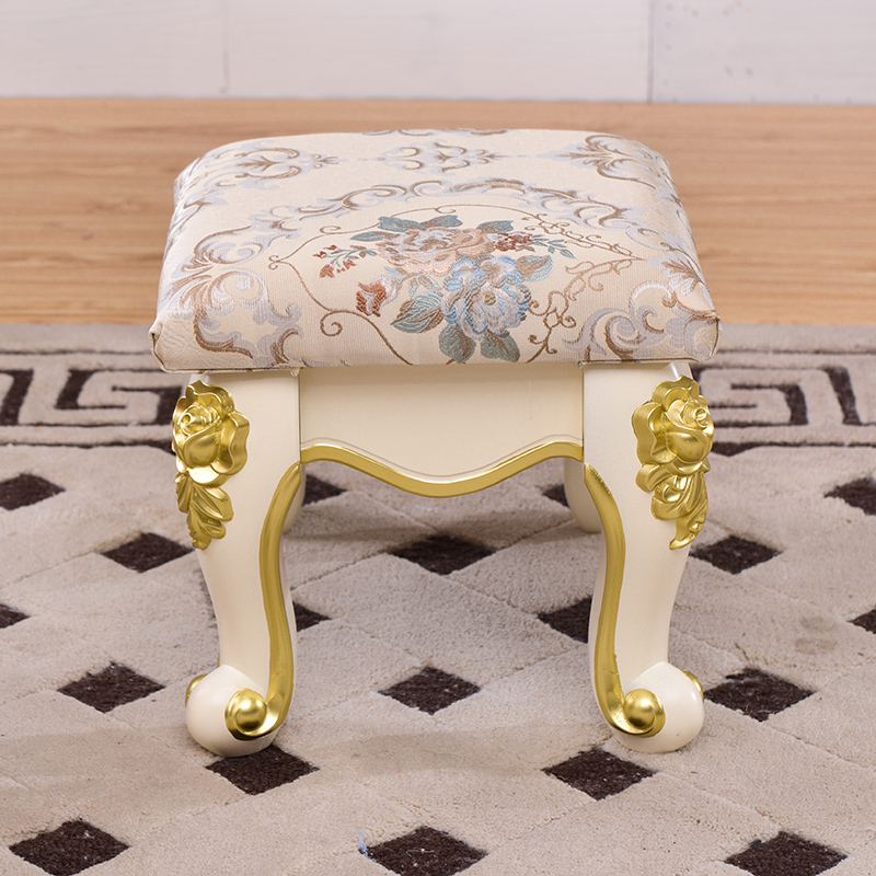 Coffee Table Stool Luxury Small Stool Home Children Small Bench Living Room Seat Stool Ivory White Carved Shoes Bench