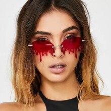 Unique Cute Melting Shape Sunglasses Women Men Vintage Funny Red Steampunk
