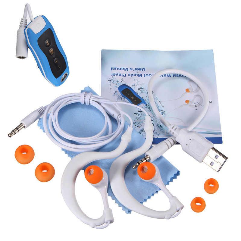 8GB odtwarzacz MP3 pływanie podwodne nurkowanie Spa + Radio FM wodoodporne słuchawki niebieskie