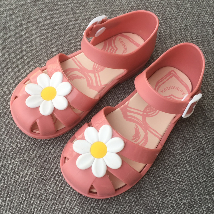 Toddler Sandals Fashion Jelly Slippers Casual Non-slip  Flowers Slippers  Princess Children's Shoes Girls Buckle Strap Gladiator