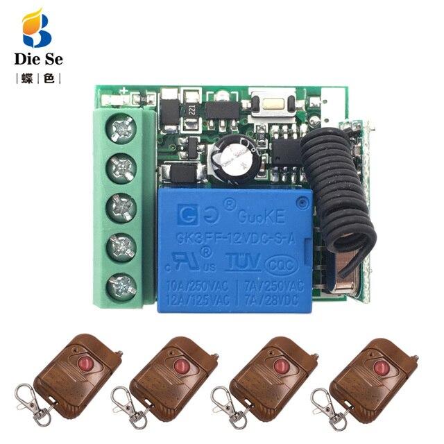 433mhz universal controle remoto sem fio rf relé 12v 1ch módulo receptor rf interruptor e 1 botão remotos para portão abridor de garagem