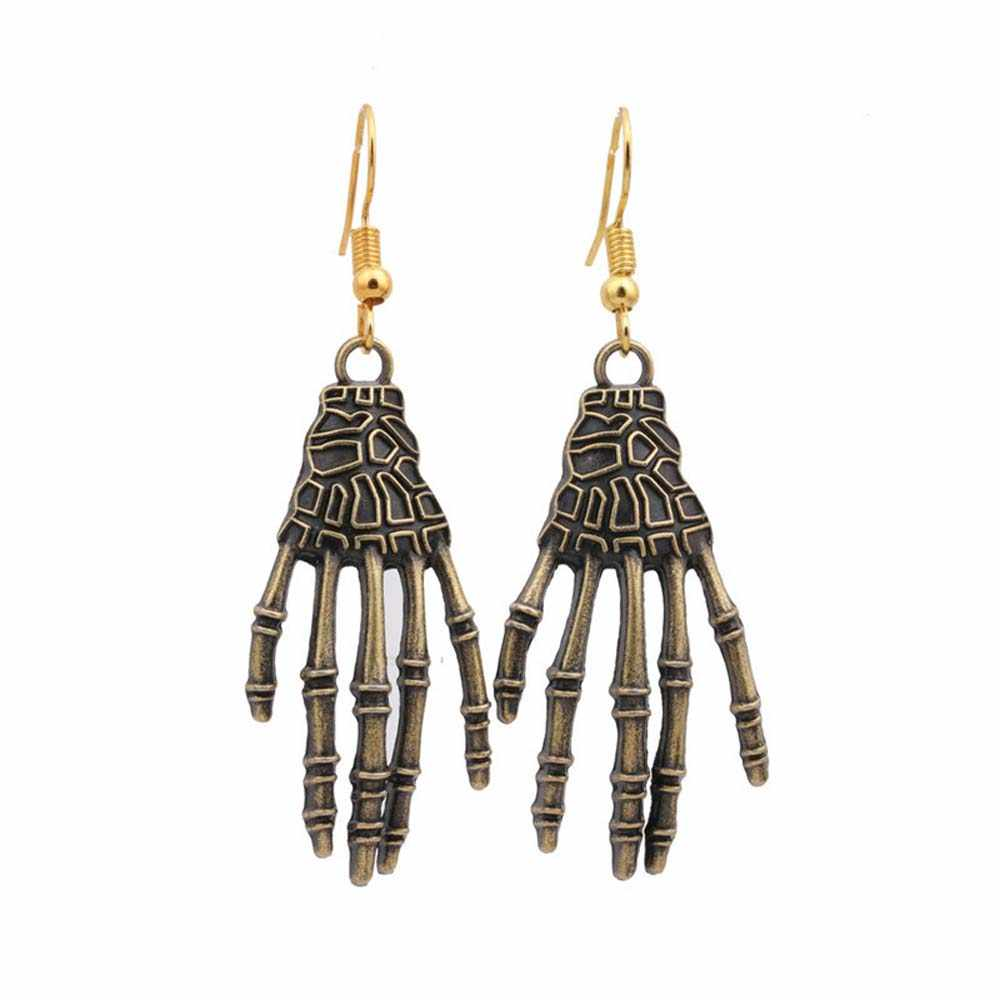 Punk Metal Drop Earring Halloween Day Vintage Carved Bone Skull Skeleton Hands Earrings Big Punk Men Women Ear Jewelry Aliexpress