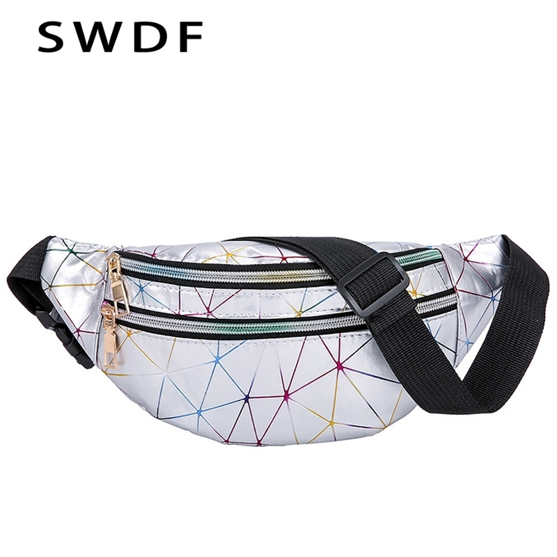 SWDF New Holographic Waist Bags Women Pink Silver Fanny Pack Female Belt Bag Black Geometric Waist Packs Laser Chest Phone Pouch