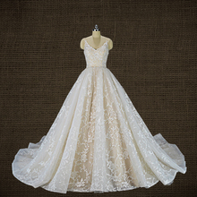 Royeememo Luxurious V neckline lace ball gown wedding dress 2020 bride dress