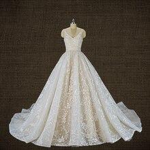 Royeemo robe de mariée luxueuse à col en V en dentelle, robe de bal, 2020