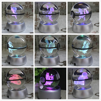 New Style Pokemon Ball With Engraving Crystal For Gift Led Light