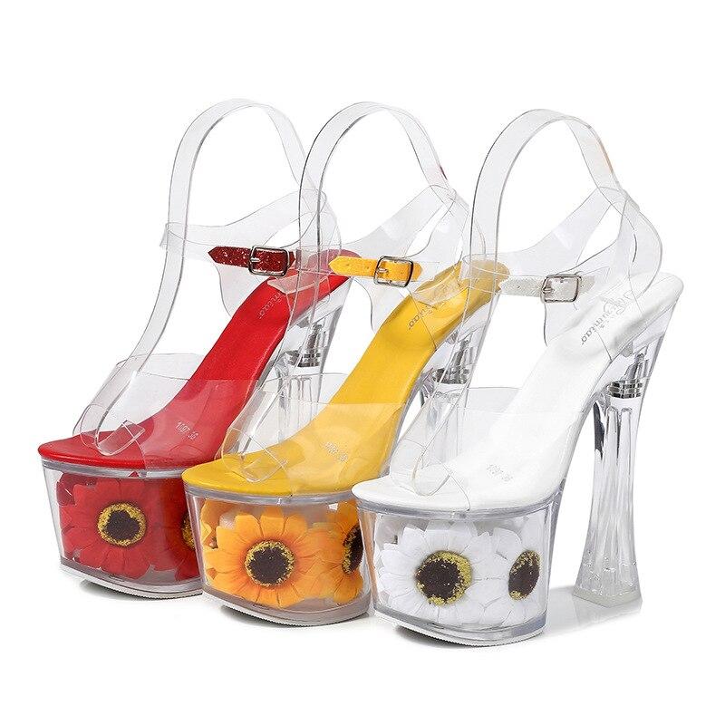 Zapatos de plataforma con flores transparentes de Pvc para mujer para verano, sandalias de Punta abierta con hebilla de cristal de plástico, zapatos de tacón alto sexis para fiestas en club nocturno Zapatos de fiesta rojos, negros, amarillos, para mujer, Gladiador Stiletto sandalias de, tacones altos sexis con cordones cruzados, sandalias de verano para mujer
