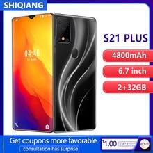 SHIQIANG-teléfono móvil inteligente S21 Plus, Smartphone con Android, desbloqueo facial y huella dactilar, 6,7 pulgadas, 2GB + 32GB, 2 tarjetas SIM