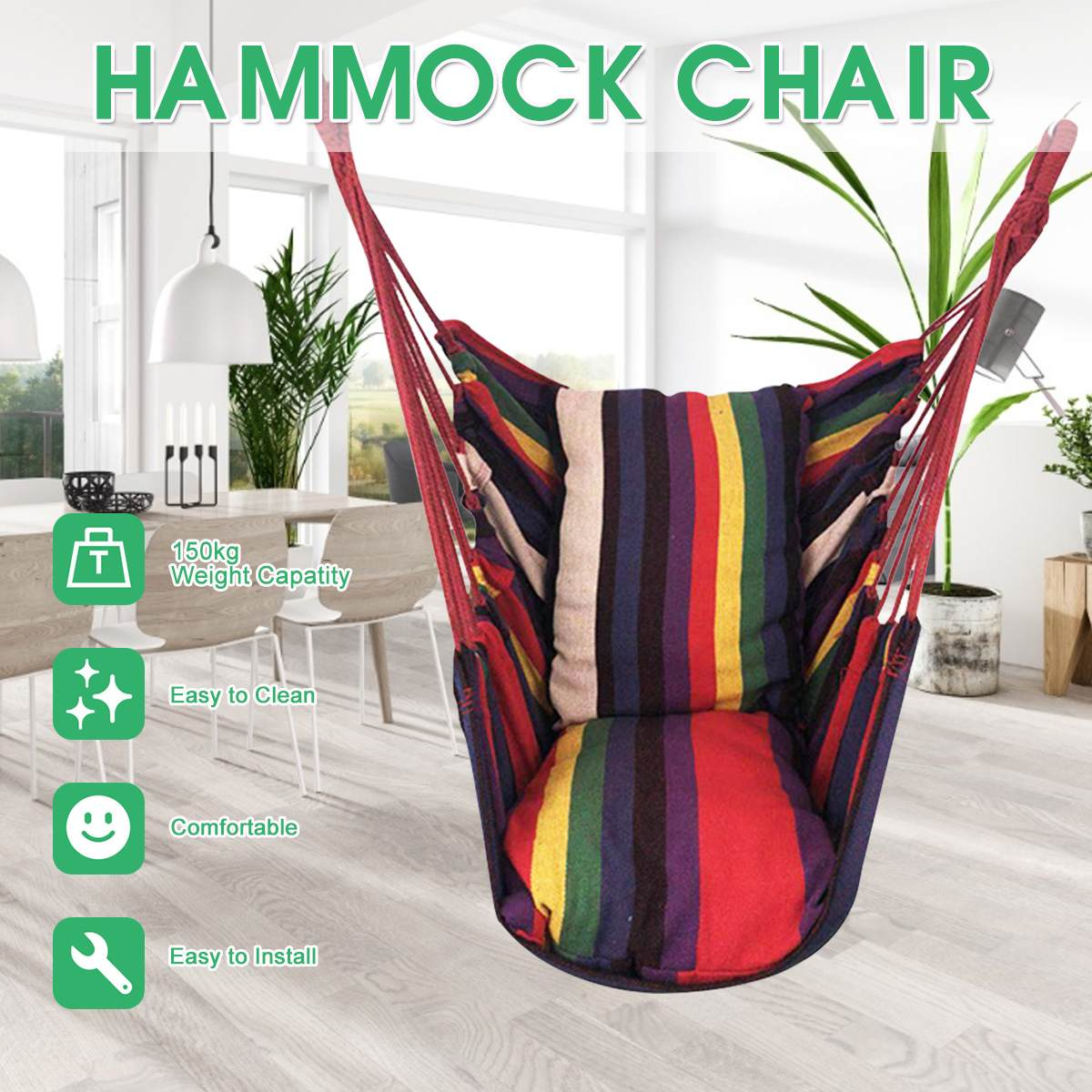 Portable Swing Seat Hammock Chair Swing Chair Patio Swing Outdoor Garden Hanging Chair Travel Camping Hammock Silla Colgante
