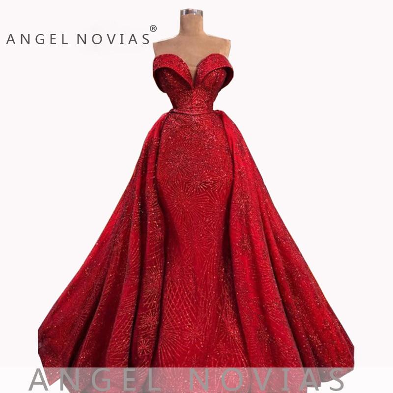 Ange NOVIAS longue sirène rouge Abendkleider arabe élégant robe de soirée 2019 Vestido Sirena Largo avec jupe détachable