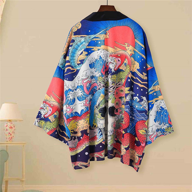 2020 Summer Tang Suit Japanese Retro Seven-point Sleeve Kimono Shirt Male Couple Wear Loose Thin Shirt Robe