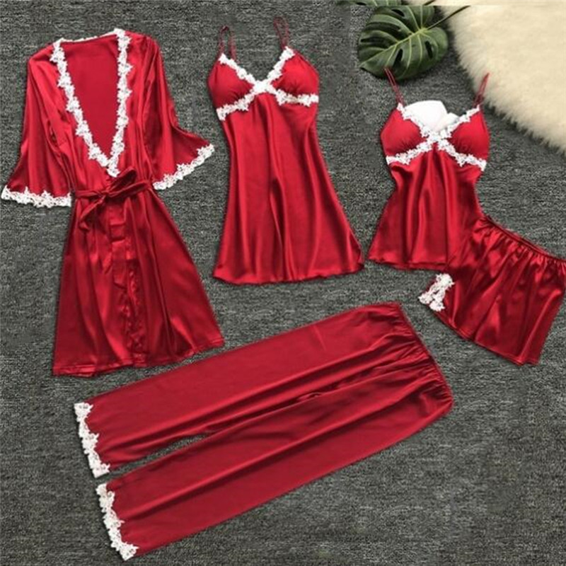 Sexy Sleeping Dressing Gown Women Short Satin Bride 5pcs Bathrobe Robe Lace Silk Kimono Bathrobe Summer Nightwear