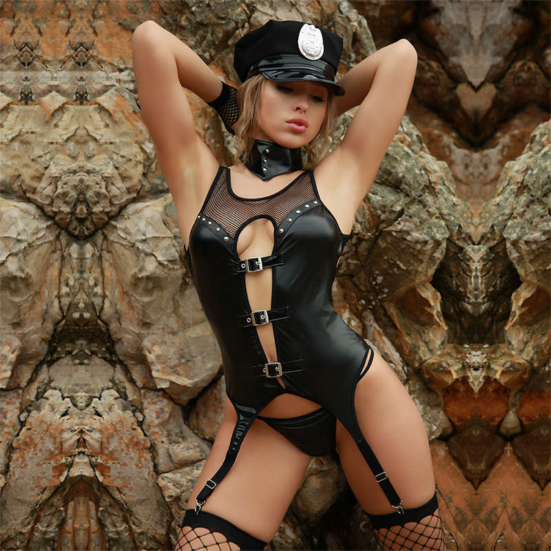 JSY Sexy Police Woman Cosplay Costume Adult Woman Erotic Fantasies Cop Costumes Black Latex Sex Uniform For Role-playing Games
