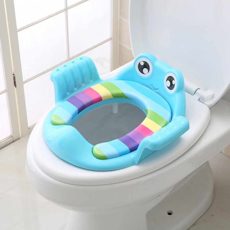Cartoon Baby Potty Seat Ring Girls Urinal Trainers Armrests Large Children\'s Toilet Seat Covers Baby Ladder Folding Toilet