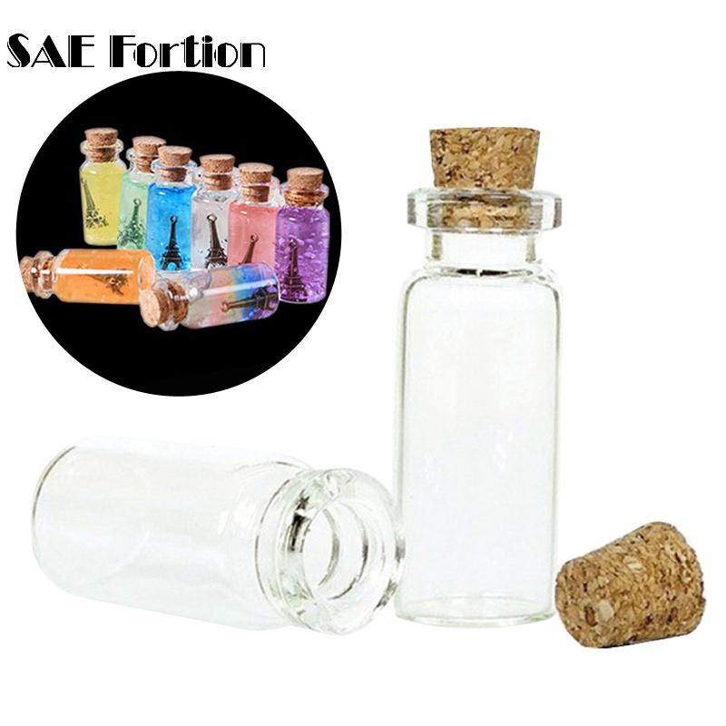 SAE Fortion 4Pcs 20*50MM 10 ML Mini Glass Bottles Empty Jars For DIY Craft Stoppers With Sample Accessories Cork Decoration W7Y0 image