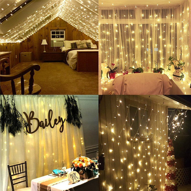 960LEDS LED Curtain Lights Fairy Garland String Light Icicle Christmas Indoor Outdoor Wedding Lighting Home Party Gararden Decor