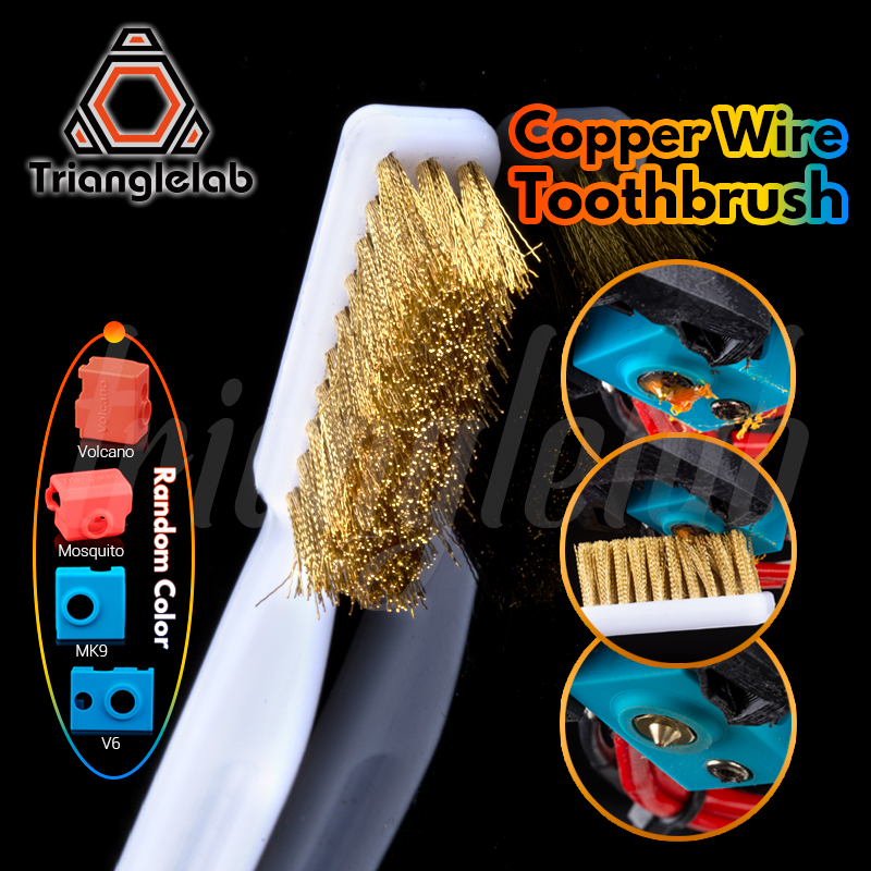 Trianglelab Copper Wire Toothbrush Copper Brush  Handle 3D Printer Nozzle Cleaning Hot Bed Cleaning 3D Print Cleaning