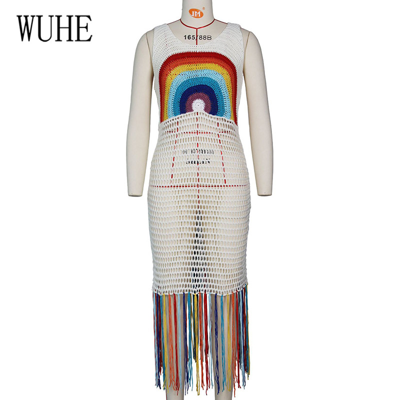 WUHE Summer Tassel Sexy Women Fishnet Hollow Out See Through Dress Elegant Sleeveless Rainbow Color Crochet Kniting Vestidos in Dresses from Women 39 s Clothing
