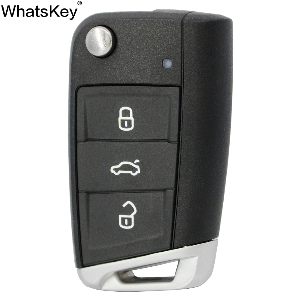 WhatsKey 3 button Folding Flip <font><b>Remote</b></font> <font><b>Key</b></font> Shell Case For VW <font><b>Golf</b></font> <font><b>7</b></font> 4 5 Passat b5 b6 polo Touran Jetta Seat Skoda Replacement <font><b>key</b></font> image