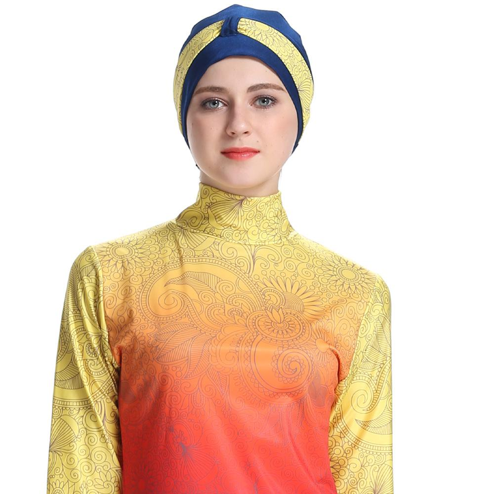 Womens Islamic Muslim Full Cover Costumes Modest Swimwear Swimming Arab Burkini 3PCS Bathing Suits Swimsuit Middle East Fashion