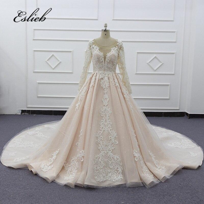 Eslieb High Quality 2020 Gelinlik Formal Dress Long Sleeves Wedding Dress Ball Gown Wedding Dresses Vestido De Noiva For Bride
