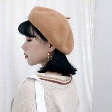 Women Cashmere Berets Hats Lady Girl Wool Berets Autumn Winter Vintage Female Hat Warm Black Pink Beige Gray Red Yellow Blue цена