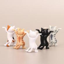 Gato dos desenhos animados caneta titular dança gato feito à mão dos desenhos animados encantador gatinho brinquedo boneca ornamento escritório caneta titular figura modelo